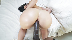 Thick ass filled with a black monster cock
