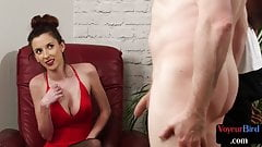 Bigboobs voyeur enjoys in interracial JOI sesh