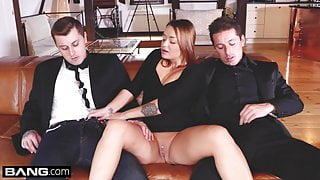 Glamkore - Brunette Euro babe in DP threesome
