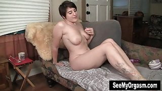 Busty Amber Toy Her Hairy Slit