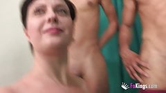 BUSTY Romaninan housewife picks and bangs one of the two big