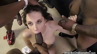 White girl Nikita fucked by several blacks at once