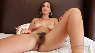 Amazing hairy Katie Zucchini in interview on bed