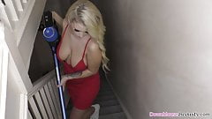 Big tits blonde cleaning the stairs
