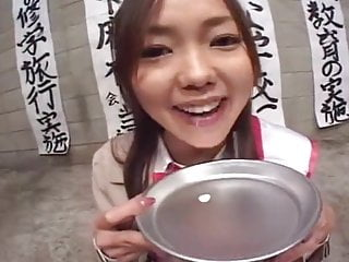 Vintage alum pie plate - Asian girl swallows cum from a plate