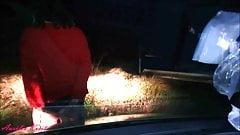 dildo et branlette face aux voiture sur l'autoroute A7