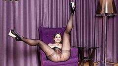 Teen Ellen Betsy masturbates in sheer black nylon pantyhose