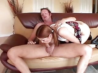 Girls fucking friends dad Young girl in pigtails sucks and fuck step-dads friend on sofa