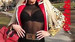 Jelena Unikat - sexy blonde in latex leggings