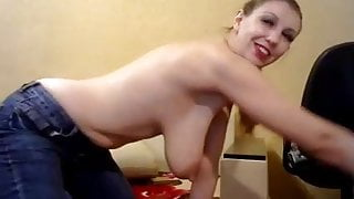 Jiggling her long saggy tits on cam 2