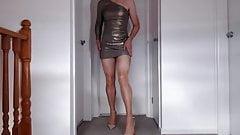 Crossdresser shiny pantyhose, high heels & a big load of cum