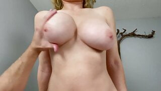 Big tits blonde sucks hard cock before getting pounded