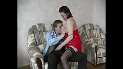 Russian slutty mommy Helga is swapping dicks of her fuckers