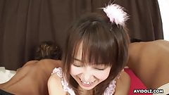 Cute Asian princess sucking on two cocks with great skill