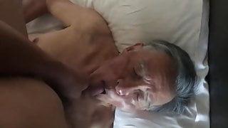 Nice Chinese grandpa sucking dick & eating cum