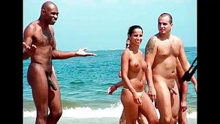 Busty ebony slut titfucks and rides big white cock. Cumshot