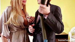 Blonde housewife Summer bangs sexy saleswoman Lily