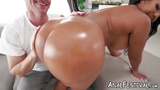 Big booty Rose Monroe rides big dick cowgirl style after BJ