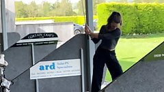 Playing golf with no bra