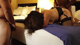 Cuckold - Wife in Hotel with Black Cocks - husband films