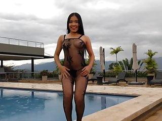Mature nylon bodysuit Mesh pool bodysuit susana