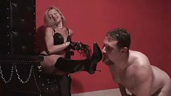 Femdom Ladies order slaves to clean their boots