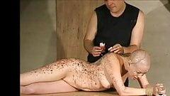 hard wax torture on bald slave