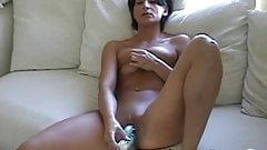 Native Canadian wife fingers slippery pussy on couch