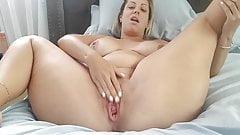 Hot Pregnant Blonde Masturbates with Dildo