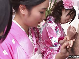 Costume dragon geisha Three geishas sucking on one lonely cock