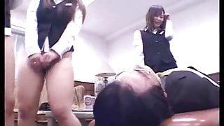 Japanese office girls face fart their boss