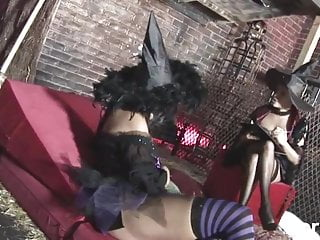 Sexy witch cotume Two sexy roleplaying witches hardcore group sex 2