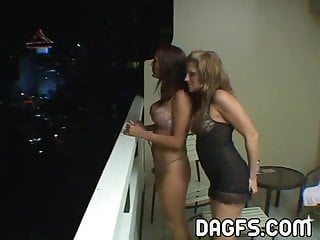 Sex threesome lesbian - Pussy trio sex on the balcony