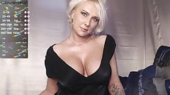 Slim woman with tight tits jerks off on camera