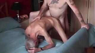 Five bareback fuck and cum.