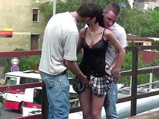 Free petit orgy Petite cute teen girl public gangbang orgy on a train bridge