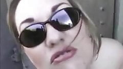 BBW in sunglasses plays with her asshole