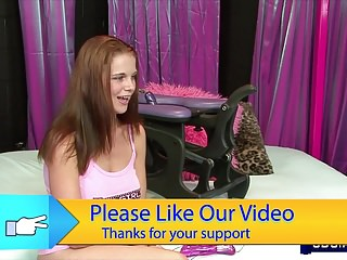 Sexy breast video - Sexy redhead with perfect breasts mounts sex machine