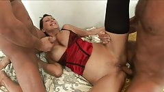 Curvy brunette in red lingerie gets threesome fuck session