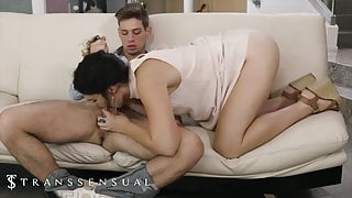 Busty Brunette TS Kendall Penny Cheats With Another Hung