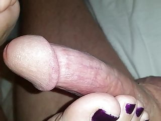 Ladyboy playing with dick Foot play with dick and wet again
