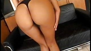 Big tits brunette gets her ass plugged by big cock