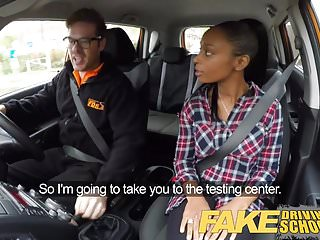 Precision test strips - Fake driving school busty ebony fails her test with lesbian