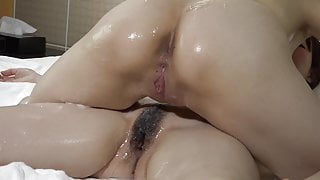 Two JP girls playing with lotion-1 3