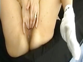 Peeing while fist fuck - Fisting herself while fucked by husband who then fists her