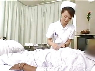 Double femdom slow drain handjob - Asian nurses drain black cock