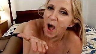 Shaved Granny Fucks A Hard Young Cock !