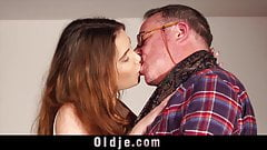 Skinny young girl seduces fat old man and he fucks her pussy