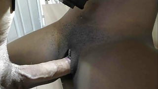 Tiny ebony cunt inflated by big white cock