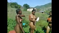 Ebony Zulu girls washing tits before Reed Dance